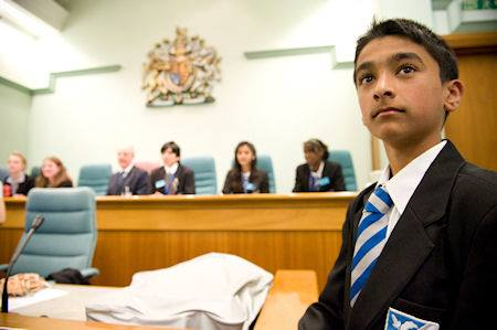 Schoolboy in a youth court